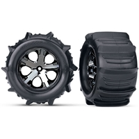 "Traxxas Stampede Rear 2.8"" Paddle Tires on All-Star Black Chrome Rims with inserts (2)"