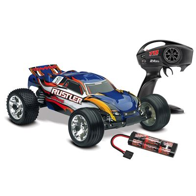 Traxxas Rustler XL5 RTR Truck with blue body and TQ radio