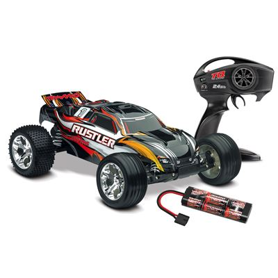 Traxxas Rustler XL5 RTR Truck with black body and TQ radio