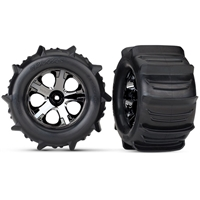 "Traxxas Stampede 4x4 Front and Rear 2.8"" Paddle Tires on All-Star Black Chrome Rims with inserts (2)"