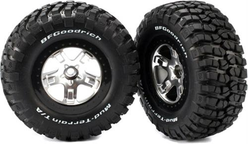 2 Traxxas Slash 2wd BFGoodrich KM2 FRONT Tire Satin Chrome