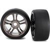 Traxxas XO-1 Rear Slick Tires On Black Chrome Rims (2)