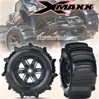 Traxxas X-Maxx Front and Rear Paddle Tires on X-Maxx Black Rims with inserts (2)