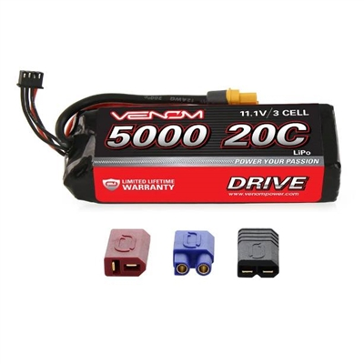 Venom 5000mAh 20C 11.1V 3S Lipo Battery Pack with Universal Plug System
