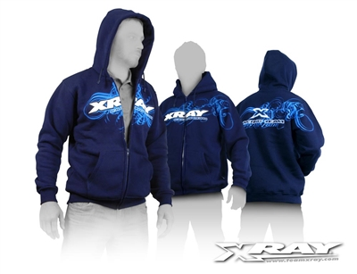 Xray Blue Hooded Sweatshirt with zipper, extra large