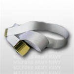 White Nylon Belt with Brass Buckle and Tip - 44 Inch Cut