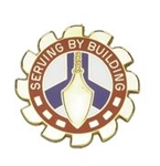 US Army Unit Crest: 416th Engineer Command - Motto: SERVING BY BUILDING