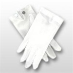 White Nylon Stretch Gloves with Snap-Closure