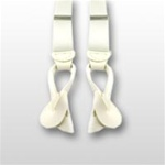 "White Suspenders with Leather Ends, Button Holes - 42"" Length x 1 1/8"" Wide"