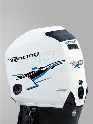 400R Engine Cover - White / Blue Graphics