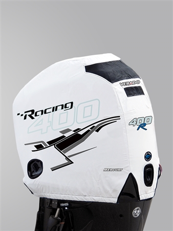 400R Engine Cover - White with Carbon Graphics