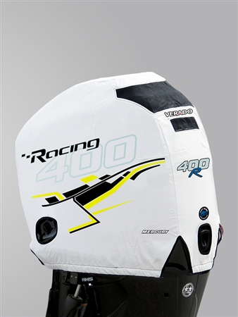 400R Engine Cover - White with Yellow Graphics
