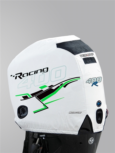 400R Engine Cover - White with Green Graphics
