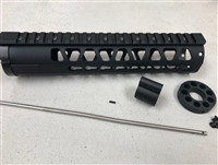 "10"" inch KEYMOD Handguard Mid Length Free Float quad rail GAS BLOCK + Gas Tube + End Cap"