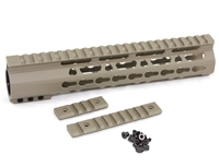 "10"" Super Slim Handguard Free Float KeyMod Extra Light AR15 .223 5.56 - CLAMP-ON STYLE- FDE"