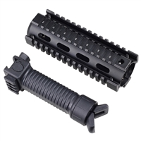 "6.7"" AR Quad Rail Handguard Carbine Length 2 Piece Drop-In + Bipod Foldable Foregrip"