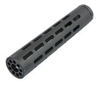 "10"" inch Free Float Round Tube Handguard Black Aluminum + .75"" END CAP"