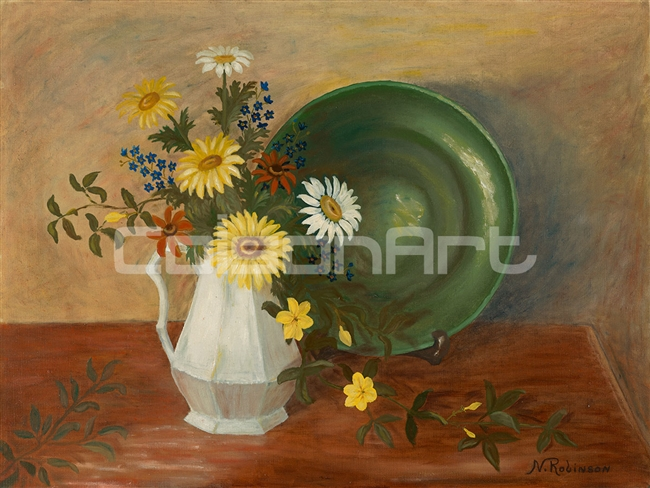 Nadine Robinson Spring Bouquet with Green Plate