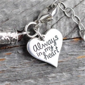 Personalized Always in My Heart Sterling Charm