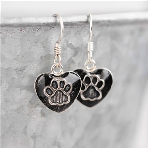 Spirithorse Designs Paw Print Heart Sterling Pet Hair Earrings