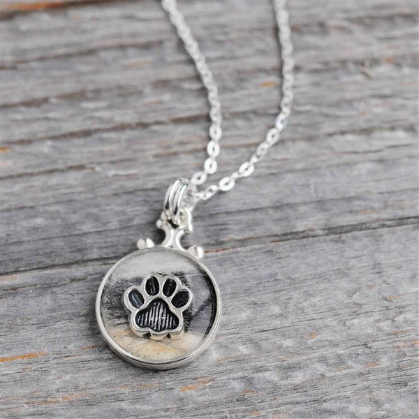 Sterling Round Pet Hair Pendant and Necklace