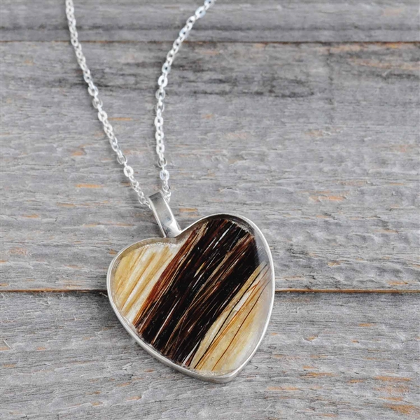 Sterling Horse Hair Heart Necklace