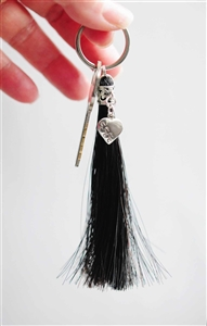 Spirithorse Designs Tassel Horse Hair Key Chain in sterling silver