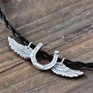 Spirit Ride Sterling Silver Horseshoe with Wings Necklace