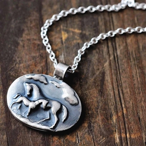 Serenity Sterling Silver Mare and Foal Necklace