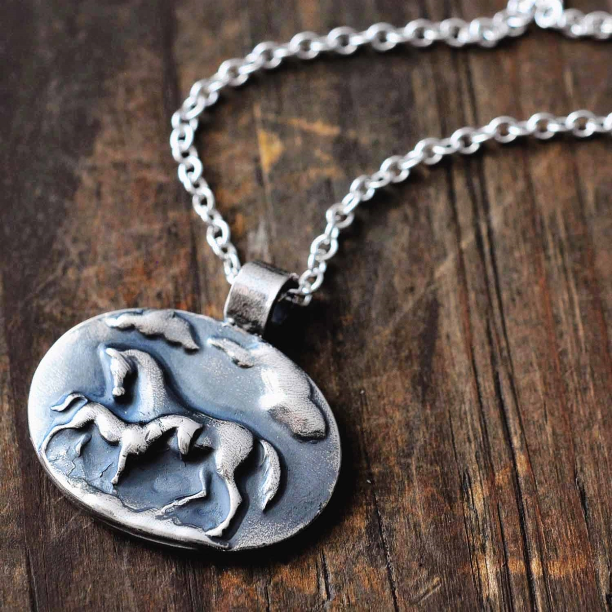 Serenity sterling silver mare and foal pendant and necklace serenity sterling silver mare and foal necklace aloadofball Choice Image