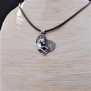 Of My Heart Sterling Silver Horse Necklace