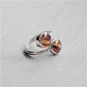 Sterling Horse Hair Ring Double Round