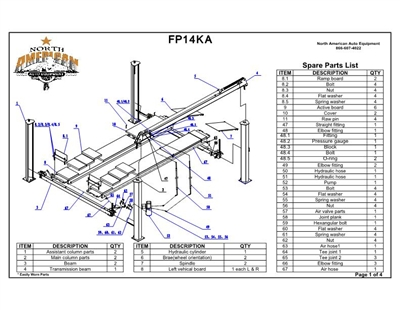 FP14KA Parts Breakdown | Replacement Parts for 4 Post Lift