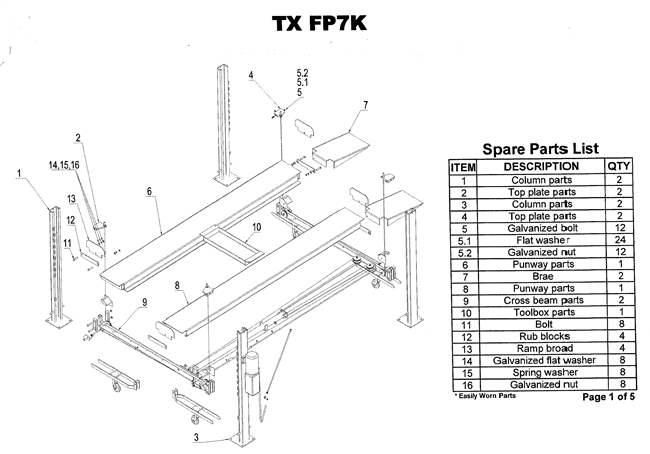 FP7K Parts Breakdown | Replacement Parts for 4 Post Lift Diagrams of ...