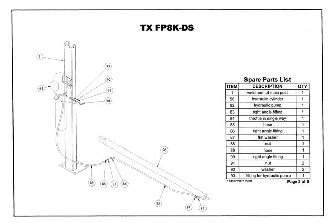 FP8K-DS & FP8K-DS-XLT Parts Breakdown | Replacement Parts for 4 Post