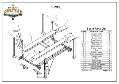 FP9K Parts Breakdown | Replacement Parts for the FP9K 4 Post Lift