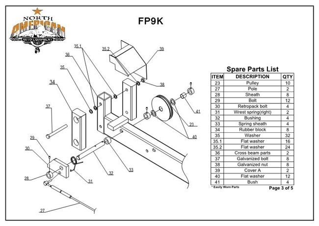 Fp9k parts breakdown replacement parts for the fp9k 4 post lift fp9k ccuart Image collections