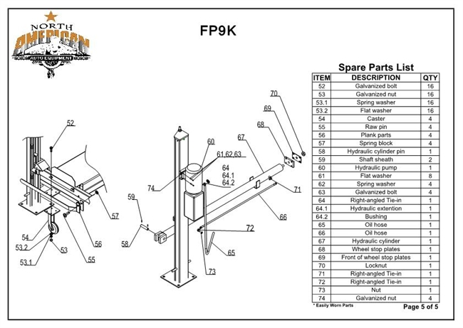 FP9K Parts Breakdown | Replacement Parts for the FP9K 4 Post