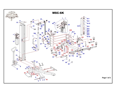 MSC6K Parts Breakdown | Replacement Parts for MSC6K Single Column Lift