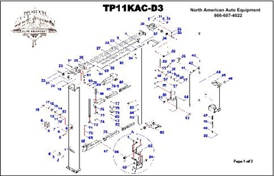 TP11KAC-D3 Parts Breakdown | Replacement Parts for Direct Drive 11,000 lb Two Post Lift with 3 Stage Arms