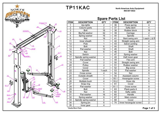 TP11KAC Parts Breakdown | Replacement Parts for 11,000lb 2 Post ... elevator lift parts North American Auto Equipment