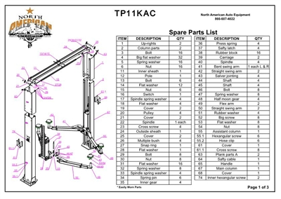 TP11KAC Parts Breakdown | Replacement Parts for 11,000lb 2 Post Lift