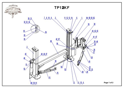TP12K-F Parts Breakdown | Replacement Parts for TP12KF 2 Post Floorplate Lift