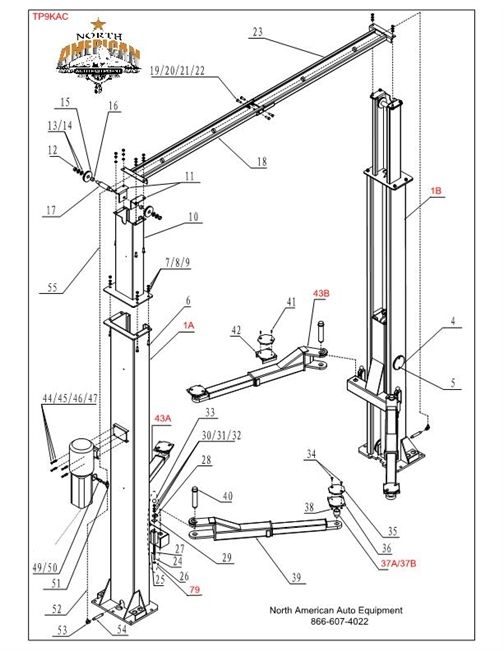 TP9KAC Parts Breakdown | Replacement Parts for 2 Post Clearfloor Lift  Diagrams of Auto Lifts and their parts | North American Auto Equipment | Tuxedo Car Lift Wiring Diagram |  | North American Auto Equipment