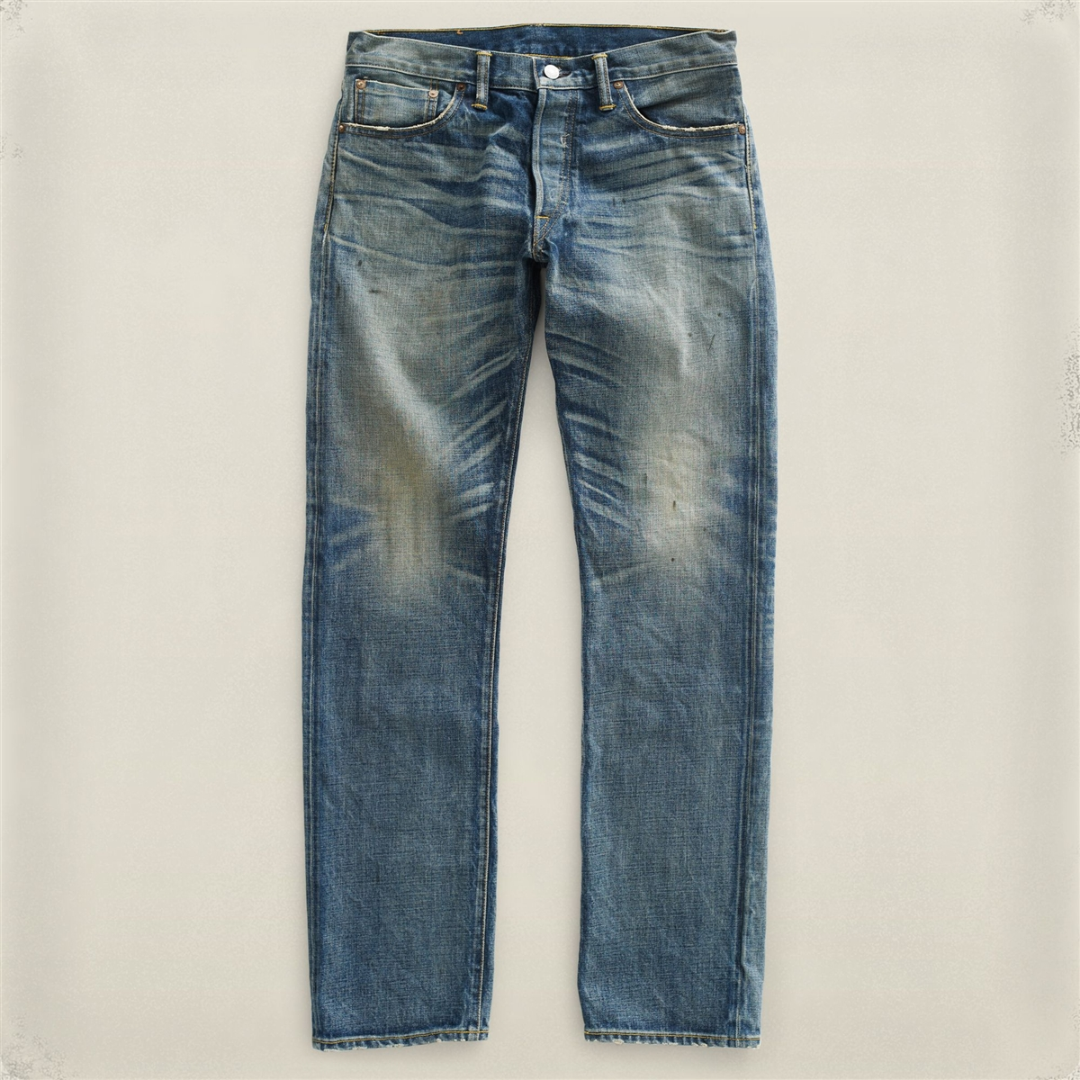 Ralph Lauren Rrl Low Straight Leg Selvedge Denim Jeans Midland Wash