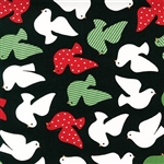 Jingle Black Peace Dove Yardage