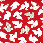 Jingle Red Peace Dove Yardage