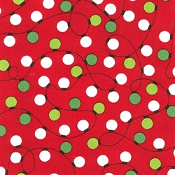 Jingle Red Tangled Lights Yardage