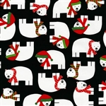Jingle Black Festive Polar Bear Yardage
