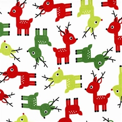Jingle White Holiday Reindeer Yardage